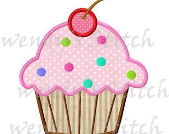 Cherry cupcake applique machine embroidery design