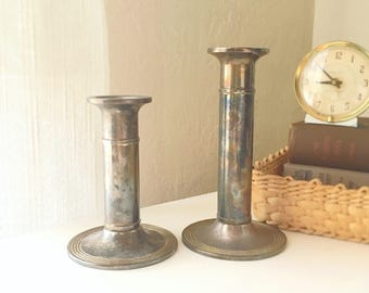 Vintage Silver Metal Candlesticks Candleholders Matching Pair Neutral Decor Hygge Industrial Different Heights