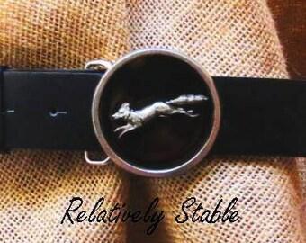 vintage fox belt buckle, equestrian belt, fox belt,  interchangeable with all snap belts!