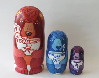 Three Bears Nesting Dolls, 3 pieces