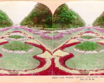 1898 Philadelphia, Pa. Fairmount Park Sunken Gardens Colored Stereoview Photo