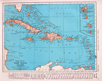 1944 Vintage Map  - West Indies Map, North America Map - 2 Sided World Atlas Book Page - 11 x 14
