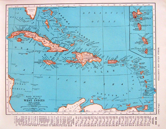 1944 vintage map west indies map north america map 2 like this item gumiabroncs Images
