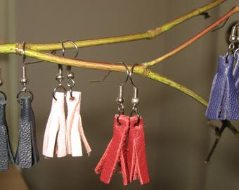 Leather Mini Tassel/Flogger Earrings in a Variety of Colors