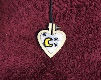 Moon and Stars Embroidered Heart Necklace