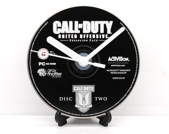 Call of Duty United Offensive PC Upcycled CD Clock Retro Video Game Gift Idea
