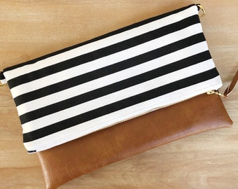 Foldover Zippered Clutch with Optional Removable Crossbody Strap