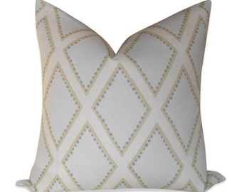 Sarah Richardson, Brookhaven pillow cover in Opal - SAME Fabric BOTH Sides - Invisible Zipper - 18x18, 20x20, 22x22 and lumbar sizes