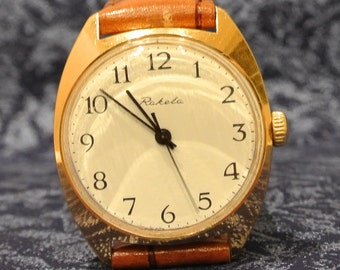 Soviet watch Russian watch RAKETA USSR  Mens Watch Gold Plated SERVICED  + leather band White Dial Watch