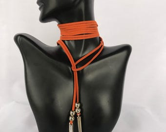 Orange Choker/Wrap Choker/ Suede Necklace