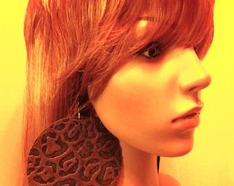 Denim Round Fabric Earrings Embellished Leopard Print  Design, Large Fabric Earrings, Women Earrings, Large Earrings, Big Earrings