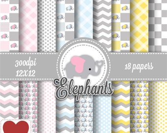 Elephants Digital Paper Kit Digital Elefantinho Make your own elephant