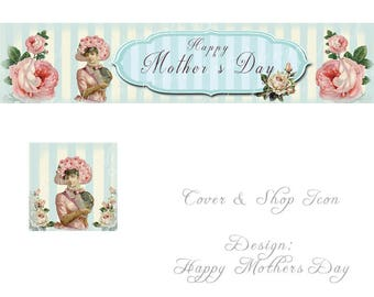 Mothers Day, Cover and shop icon, instant download, vintage theme, vintage lady, pink roses, blue ivory stripe, Happy Mother's Day text