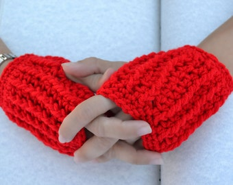 Cherry red hand warmers, fingerless gloves, festival gloves, texting gloves, crochet gloves, wrist warmers, warm gloves, winter gloves