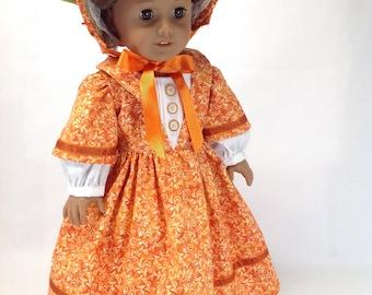Civil War era dress, burnt orange dress, 18 inch dolls,  historical doll clothing, historical doll dress