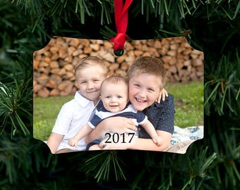 Family Photo Personalized Metal Ornament - Customized with your photo, two sided, dated