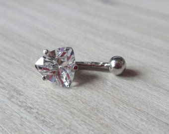 Crystal Belly Button Ring Birthstone Navel Piercing Silver Belly Ring