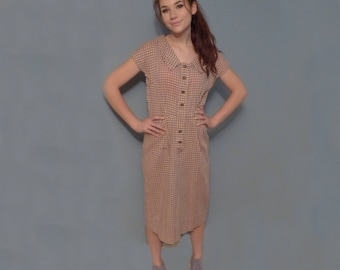 Cute Vintage Handmade House Dress Brown & Beige Check