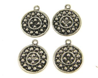 Coin Charms - Antique Silver Round Granulated Metal Coins for Jewelry Crafts |S5-5|4