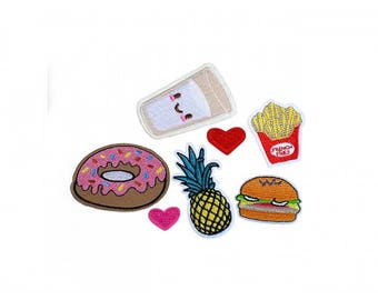 Pack of 8 badges heat-sealed patches food drinks