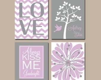 Girl Nursery Decor, Baby Girl Nursery Wall Art, Girl Nursery Wall Decor, Girl Bedroom Pictures, Lavender Nursery, CANVAS or Prints, Set of 4