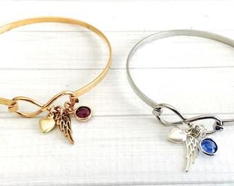 Memorial Bracelet - Angel Wing Bracelet - Angel Wing Jewelry - Infinity Jewelry - Memorial Jewelry - Remembrance Bracelet - Sympathy Gift