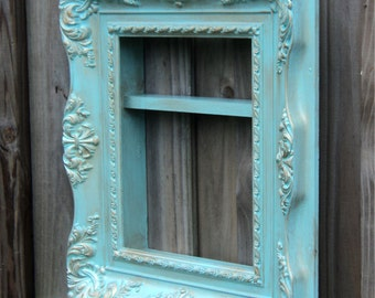 Teal And Antique Gold Display Cabinet, Vintage Up Cycled Molded Resin Frame
