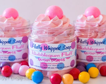 Fluffy Whipped Soap - Bubblegum Fluff - 4 oz. - Vegan Friendly, Bubble Gum Soap, Glycerin Soap Ball