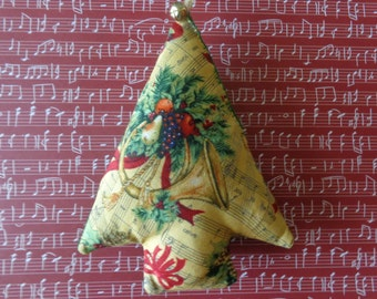Noel Print Fabric Christmas Tree Ornament by Pepperland