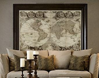Terrestre etsy old world map baptiste 1708 historic world map antique restoration style world map jean baptiste nolin le globe terrestre wall map decor gumiabroncs Image collections