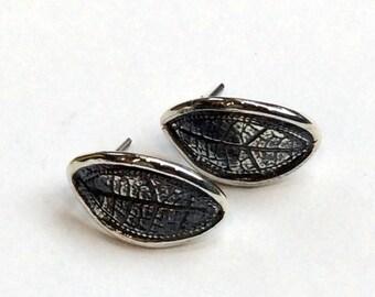Leaf earrings, Woodland stud earrings, botanical earrings, sterling silver earrings, leaf studs, nature earrings, simple - Skyfall E8029