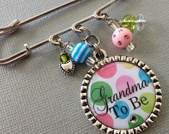 Grandma To Be pin, Aunt To Be, Mom TO be pin, PERSONALIZED gift- gender reveal party, Baby Shower, pregnancy announcement, new grandma