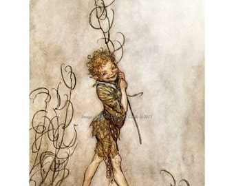 Fairy Fabric Block - Arthur Rackham - Puck from Midsummer Night's Dream