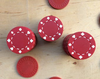 Red poker chips, vintage game chips, clay chips, professional-Style Poker Chips, Casino, Vintage Gambling, Poker Night,  Gift for Men, games