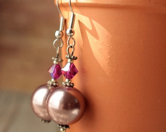 Women Pearl Earrings, Dangle Pearl Earrings, Glass Pearl Earrings, Handmade Earrings, Light Mauve Pearls, Handmade Earrings in USA,