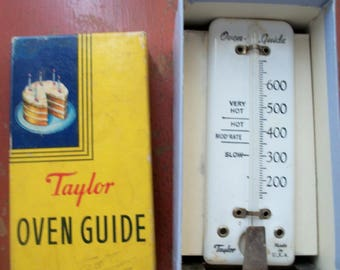 Taylor oven guide, vintage oven thermometer, in box