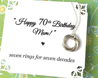 70th BIRTHDAY Gift for Mom Seventy Seventieth Birthday Necklace for Grandma With POEM Sterling Silver 7 Rings for 7 Decades Connected Rings