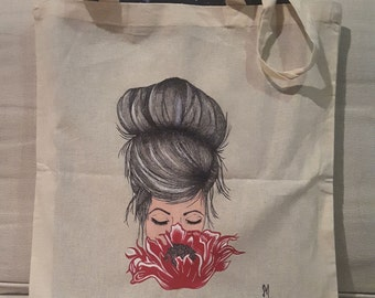 Flower girl canvas tote bag