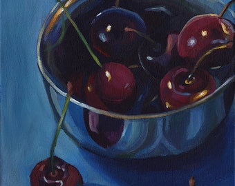 """Cherries In Bowl - original acrylic still life painting on canvas, 10x12"""""""