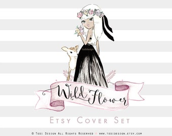 Wild Flower PreDesigned Etsy Shop Cover Photo and Shop Icon design