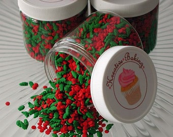 Holly and Berries Sprinkle Mix-Holly and Berries Sprinkles are perfect on Christmas cookies, brownies and much more.
