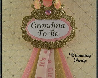 Princess Grandma To Be Corsage Pink and Gold GrandmaTo Be Corsage Pink and Gold Baby Shower Pink Baby Shower Corsage