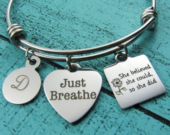 just breathe bracelet, yoga bracelet, recovery gift, inspiration bracelet, mindfulness gift, sobriety jewelry, encouragement gift for her