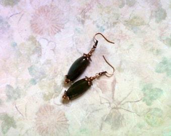 Dark Green Jasper Earrings (1977)