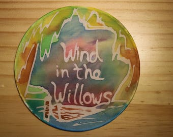 Wind in the Willows inspired silk painted light catcher