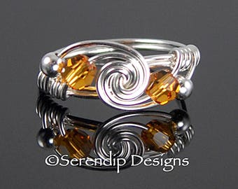 November Birthstone Twist Ring, Couple's Ring, Best Friends Ring, Sterling Silver Swarovski Amber Crystal Argentium Silver Ring