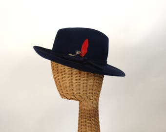 Vintage fedora navy blue wool felt hat with feathers top stitching Chelton