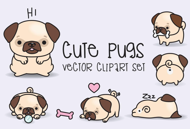 Premium Vector Clipart Kawaii Pugs Cute Pugs Clipart Set