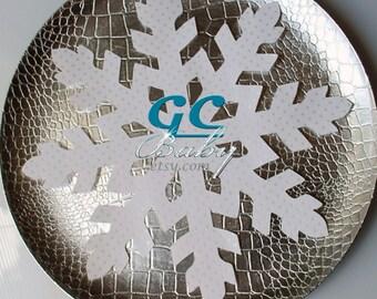 "3 JUMBO 12"" Paper Snowflakes - Large Party Decoration - Sparkle, Metallic, Holographic, Silver, White"