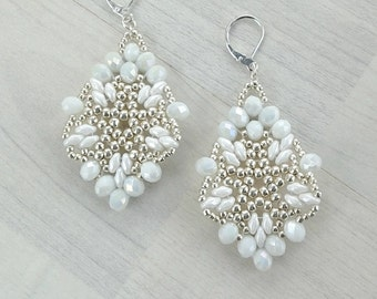 White bridal earrings, Beadwoven earrings, Dangle elegant earrings, Wedding chandelier earrings, Bridal crystal jewelry, Bead work earrings